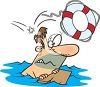 Drowning Man Being Thrown a Life Preserver clipart