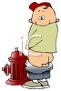 Cartoon of a Little Boy Peeing on a Fire Hydrant clipart
