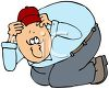 Cartoon of a Scared Man Ducking Down clipart