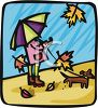 Girl Holding an Umbrella with Her Puppy on a Rainy Day clipart