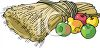 Sheaf of Wheat with Apples and Pears clipart