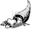 Black and White Cornucopia with a Fall Bounty Spilling Out clipart