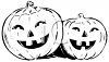 Black and White Smiling Jack O Lanterns clipart