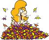 Woman Buried in a Pile of Autumn Leaves clipart