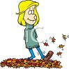 Teenage Girl Kicking a Pile of Autumn Leaves clipart
