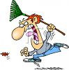 Man Losing His Temper at a Leaf While Doing Yard Work clipart