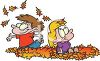Two Little Kids Enjoying Autumn Playing in a Pile of Leaves clipart