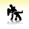 Silhouette of a Man Dipping a Woman While Dancing clipart