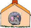 Little pet mouse or rodent in a mouse house clipart