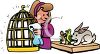 Woman pet owner taking care of her pets, a mouse, bird and rabbit clipart