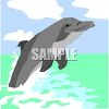 Watercolor Painted Dolphin Jumping Out of the Ocean clipart