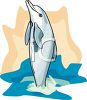 White Dolphin Jumping Out of the Ocean clipart