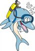 Cartoon of a Dolphin Wearing a Scuba Tank  clipart