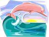 Pink Dolphin in the Ocean Waves clipart