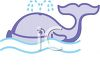 Cute Cartoon Whale in the Ocean Waves clipart