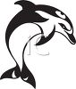 Black and White Dolphin Design clipart