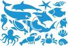 Digital Collage of Sea Life Silhouettes clipart