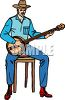 Old Cowboy Picking a Banjo clipart