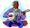 Old Black man Playing a Banjo clipart