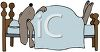 Cartoon of a Dog Sleeping in His Bed clipart
