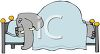 Cartoon of an Elephant Sleeping in a Bed clipart