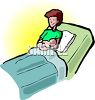 Woman in the Maternity Ward with Her Newborn Baby clipart