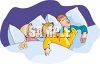 Child Sleeping in Bed with His Parents clipart