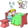 Cartoon of an Angel Watching Over a Sleeping Boy clipart