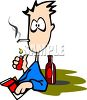 Cartoon of an Addicted Man Lighting Up a Cigarette clipart