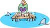 Cartoon of a Woman Trapped on a Raft with Sharks Circling clipart