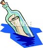 Message in a Bottle Floating in the Ocean clipart
