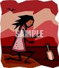 Girl Finding a Message in a Bottle on the Beach clipart