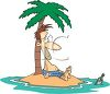 Castaway on an Island Sending a Message in a Bottle clipart