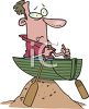 Man in a Row Boat Trapped on a Sand Hill clipart