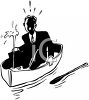 Retro Black and White Businessman in a Sinking Boat clipart