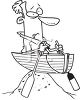 Black and White Cartoon of a Man High Centered in a Row Boat on the Beach clipart