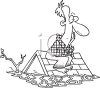Black and White Cartoon of a Man on the Roof of His House in a Flood clipart