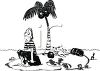 Black and White Cartoon of a Shipwrecked Pirate clipart
