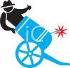 Man Being Shot from a Cannon Icon clipart