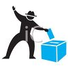 Silhouette of a Man Casting a Ballot Icon clipart