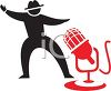 Silhouette of a Broadcaster and a Microphone Icon clipart
