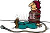 Cartoon of a Musician Tangled Up in His Microphone Cord clipart