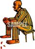 Manacled Prisoner Sitting on a Bench clipart