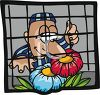 Prisoner Smelling Flowers Outside His Barred Cell Window clipart