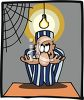 Prisoner Sitting Under a Bare Light Bulb for Interrogation clipart