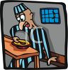 Prison Inmate Eating in the Mess Hall clipart