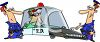 Cartoon of Cops Putting a Burglar in Their Squad Car clipart