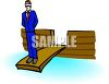 Blindfolded Businessman Walking the Plank clipart