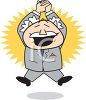 Cartoon of a Boss Jumping with Excitement clipart