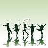 Silhouettes of Adolescents Playing clipart